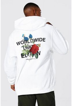 White Oversized Man Floral Back Print Hoodie
