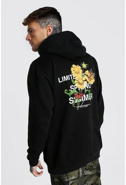 Black Oversized Man Floral Back Print Hoodie