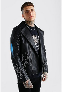 Black Man Flames Graffiti Leather Look Biker