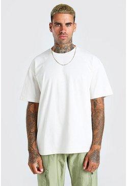 Ecru Oversized Basic Crew Neck T-Shirt