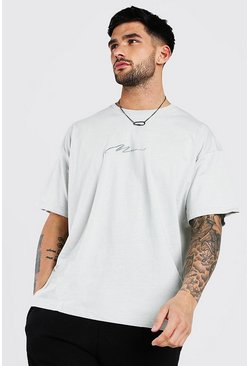 Silver Oversized MAN Signature Embroidered T-Shirt