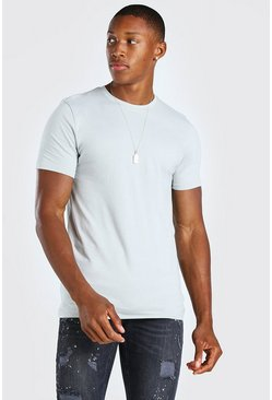 Silver Muscle Fit Crew Neck T-Shirt