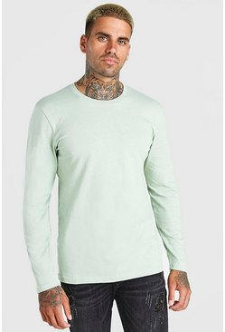 Sage Basic Long Sleeve Crew Neck T-Shirt