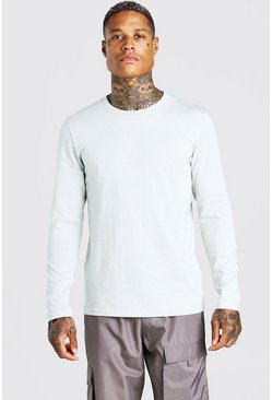 Silver Basic Long Sleeve Crew Neck T-Shirt