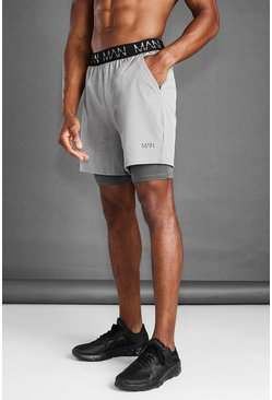 Grey marl MAN Active 2 In 1 Marl Short
