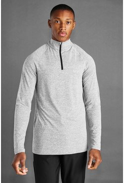 Grey marl MAN Active 1/4 Zip Marl Top