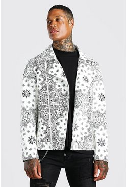 White Leather Look Bandana Print Biker Jacket