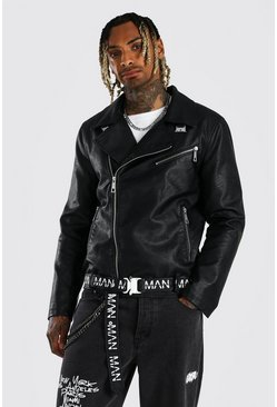 Black Faux Leather Man Branded Belt Moto Jacket