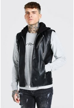 Black Leather Look Biker Gilet With Jersey Hood