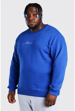 Cobalt Plus Size MAN Script Embroidered Sweater
