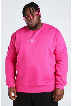 Pink Plus Size MAN Script Embroidered Sweater