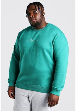 Green Big And Tall MAN Script Embroidered Sweater