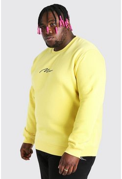 Yellow Big And Tall MAN Script Embroidered Sweater
