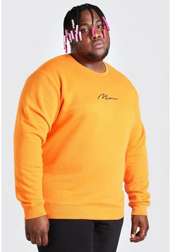 Orange Big And Tall MAN Script Embroidered Sweater