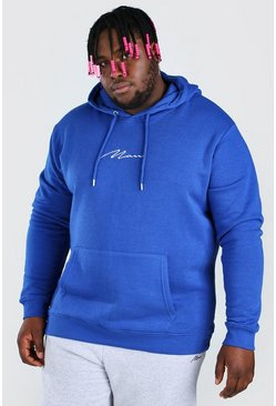 Cobalt Plus Size MAN Script Embroidered Hoodie
