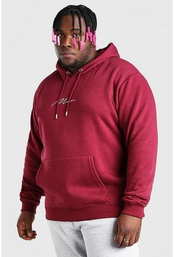 Burgundy Plus Size MAN Script Embroidered Hoodie