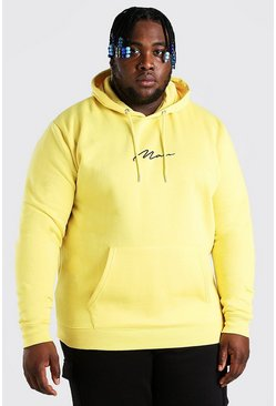 Yellow Plus Size MAN Script Embroidered Hoodie