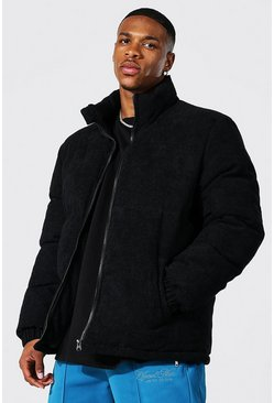 Black Cord Funnel Neck Puffer