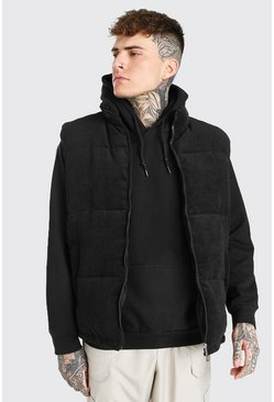 Black Corduroy Funnel Neck Gilet