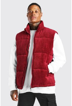 Burgundy Cord Funnel Neck Gilet