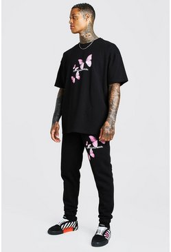 Black Butterfly Print T-Shirt & Jogger Set