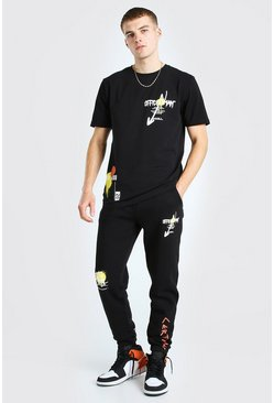 Black Official Man Graffiti Print T-Shirt & Jogger Set