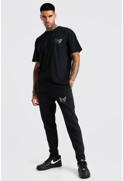 Black Rainbow Reflective Butterfly T-Shirt & Jogger Set