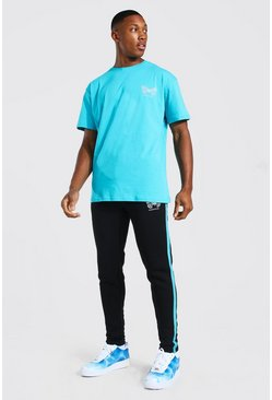 Turquoise Reflective Butterfly T-Shirt & Jogger Set