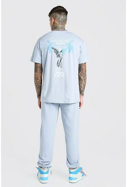 Slate Official Man Graphic Print T-Shirt And Jogger Set