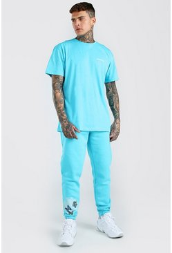 Turquoise Butterfly Graphic T-Shirt & Jogger Set