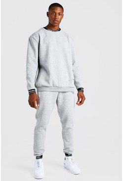 Grey marl Man Waistband Detail Sweater Tracksuit