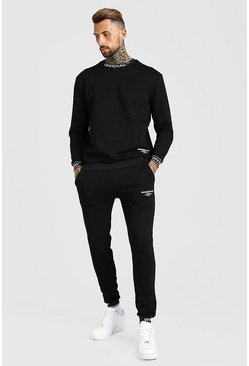 Black Man Waistband Detail Sweater Tracksuit