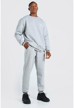 Grey marl Oversized Official Rib Detail Sweater Tracksuit