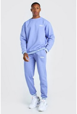 Purple Oversized Official Rib Detail Sweater Tracksuit