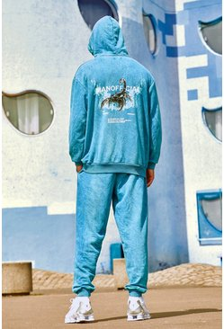 Teal Acid Wash Scorpion Hooded Tracksuit