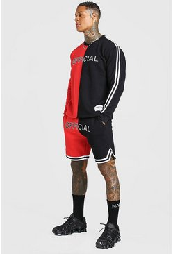 Red Spliced Official Waistband Short Tracksuit