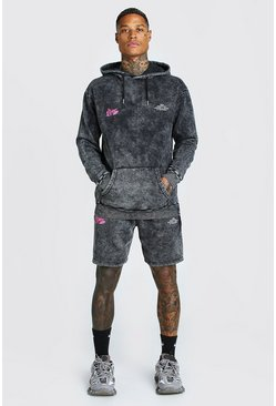 Black Acid Wash Butterfly Short Tracksuit