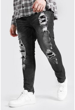 Charcoal Plus Size Super Skinny Distressed Jean