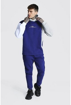 Navy Oversize Man Signature Colour Block Tracksuit