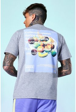 Grey marl Fruit Print Back Graphic T-shirt