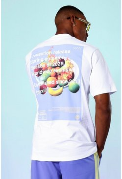 White Fruit Print Back Graphic T-shirt
