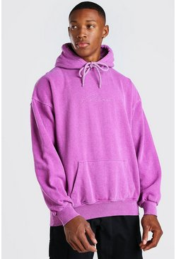 Purple Oversized Man Signature Marl Overdye Hoodie