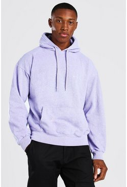 Lilac Oversized Man Official Marl Overdye Hoodie
