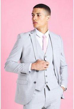 Light grey Super Skinny Stripe Suit Jacket
