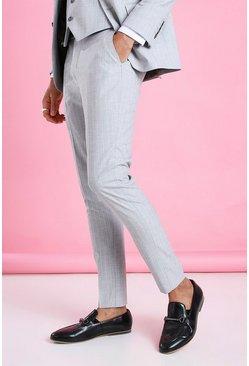 Light grey Super Skinny Stripe Suit Pants