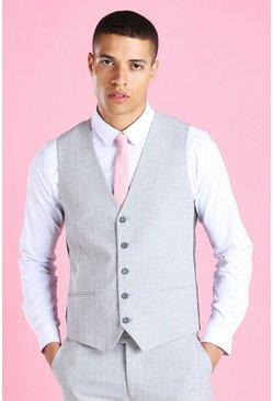 Light grey Super Skinny Stripe Suit Vest