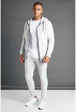 Grey MAN Muscle Fit Hooded Detail Tracksuit