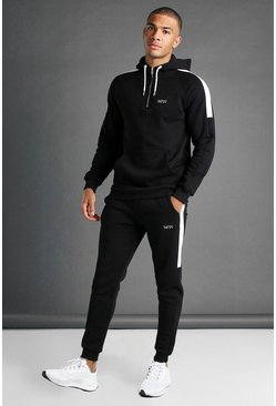 Black MAN Active Tapered 1/4 Zip Panelled Tracksuit