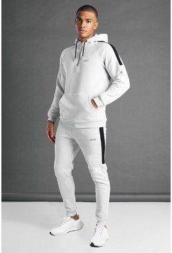 Grey MAN Active Tapered 1/4 Zip Panelled Tracksuit