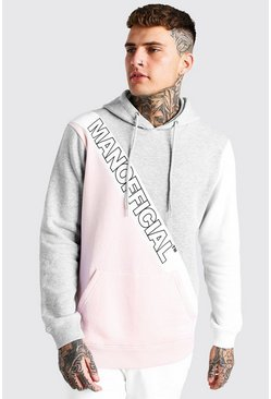 Grey marl Official MAN Colour Block Panel Hoodie